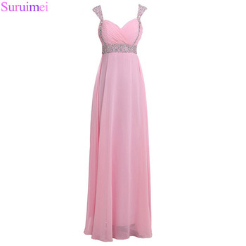 Backless Prom Dresses 2018 A-line Pink Crystals Beaded Spaghetti Strap Prom Party Gown
