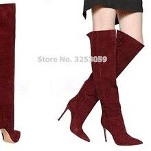 ALMUDENA/Лидер продаж; замшевые высокие сапоги с острым носком винно-Красного цвета в европейском стиле; настоящая фотография; высокие сапоги до бедра; осенне-зимняя обувь