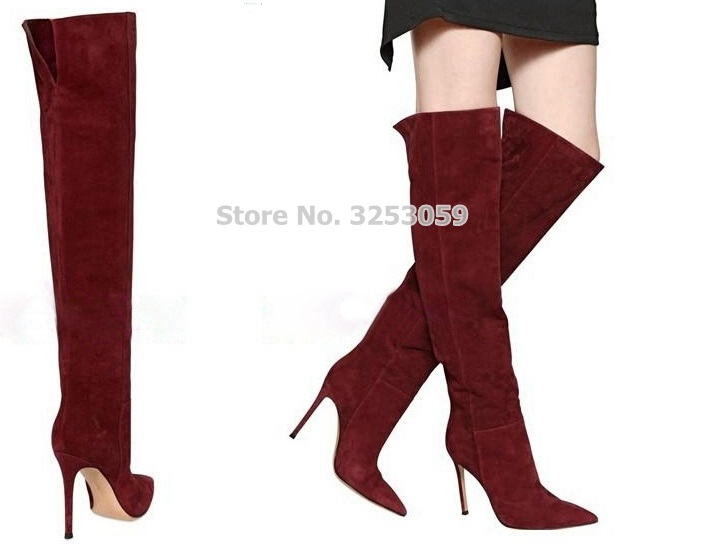 цена на ALMUDENA Top Selling Wine Red Suede Pointed Toe Long Boots European Stylish Real Photo Thigh High Long Boots Fall Winter Shoes