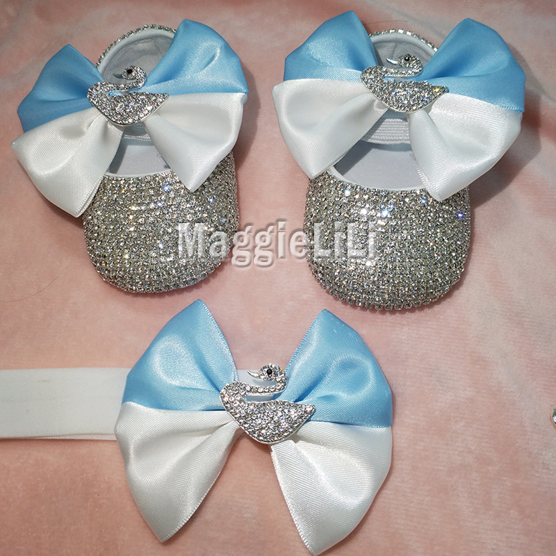 bowknot Custom Sparkle Bling Bling crystals Rhinestones Baby girls shoes infant 0-1Y ribbon shoes First Walkers hairband 0734