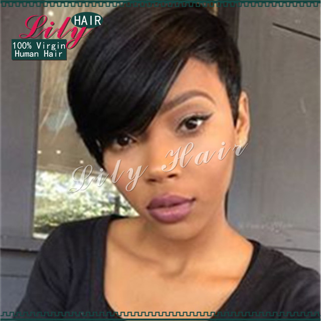 2017 New Pixie Cut Cheap Human Malaysia Hair Wig Black Short Cut