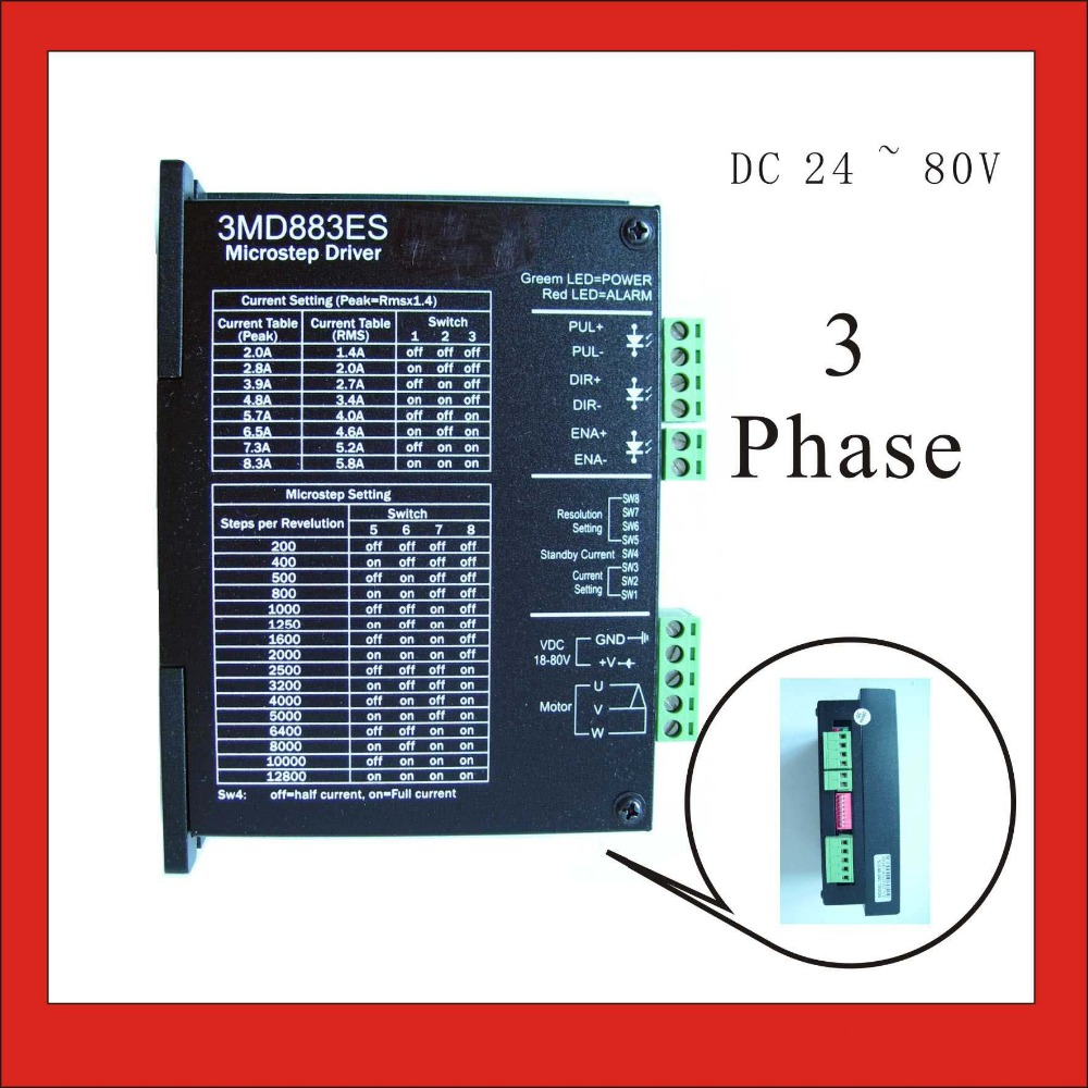 3 phase Stepper Motor Driver 3MD883ES For NEMA 23/34 Stepping with 18-80V DC input supply and output 2.0-8.3A for Packaging leadshine am882 stepper drive stepping motor driver 80v 8 2a with sensorless detection