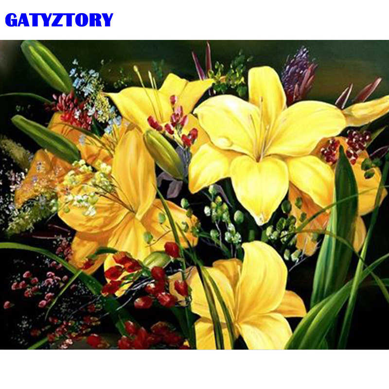 GATYZTORY Frame Yellow Lily Flowers DIY Painting By Numbers Modern Wall Art Picture Handpainted Oil Painting For Home Decors Art