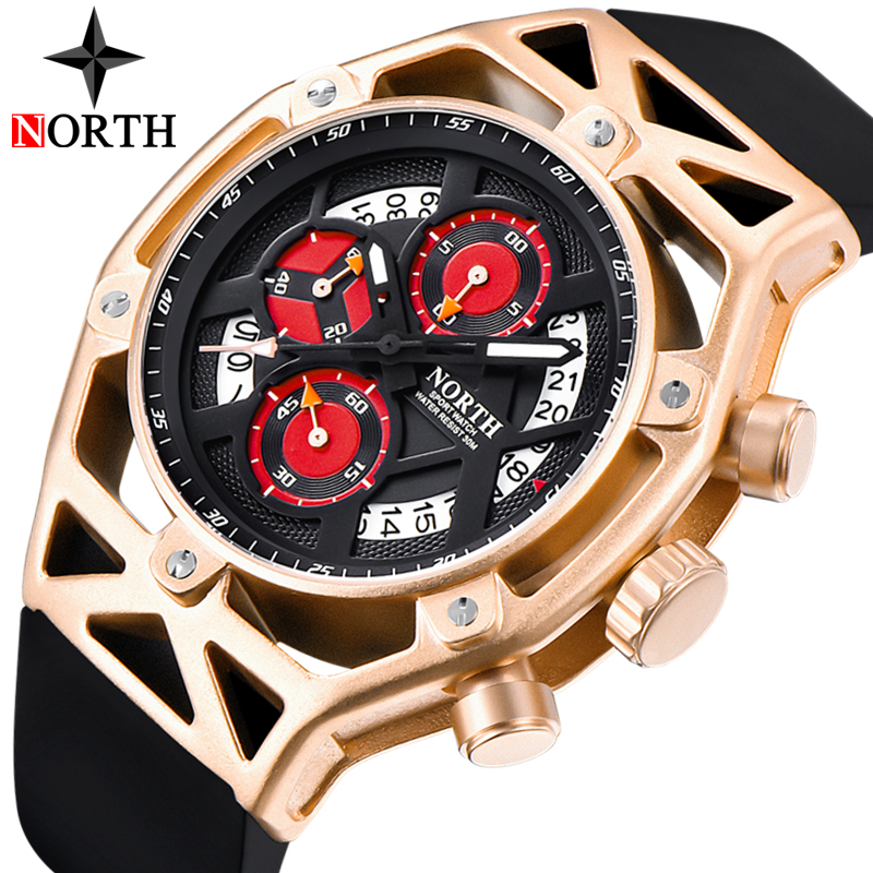 NORTH Mens Watches Top Brand Luxury Chronograph Quartz Watch Men Rubber Casual Military Sport Clock Gold Watch Relogio Masculino mens watches top brand luxury jedir quartz watch chronograph luminous clock men military sport wristwatch relogio masculino