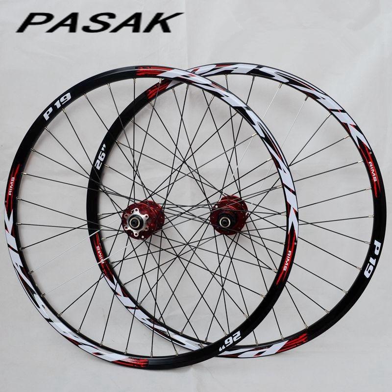 PASAK P01 26inch MTB mountain bicycle bike CNC front 2 rear 4 sealed bearings disc wheels wheelset rim 27.5 29(China)