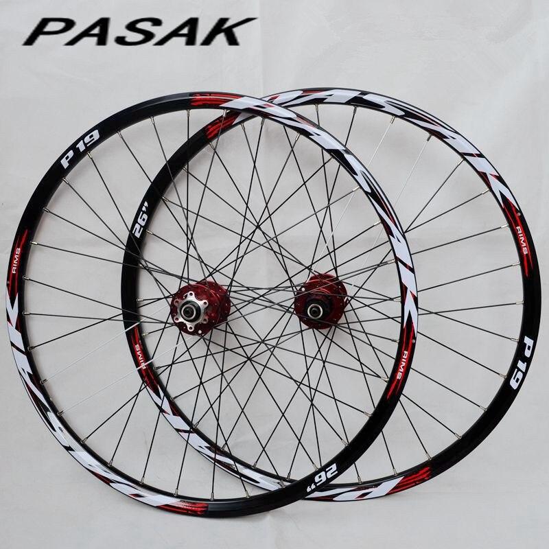 PASAK P01 26 pouces vtt vélo de montagne vélo CNC avant 2 arrière 4 roulements scellés roues à disque roues jante 27.5 29