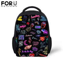 FORUDESIGS Small School Bags For Baby Girls Boy Cartoon Hip Hop Rock Music Backpack Children Kindergarten Schoolbag Kids Mochila