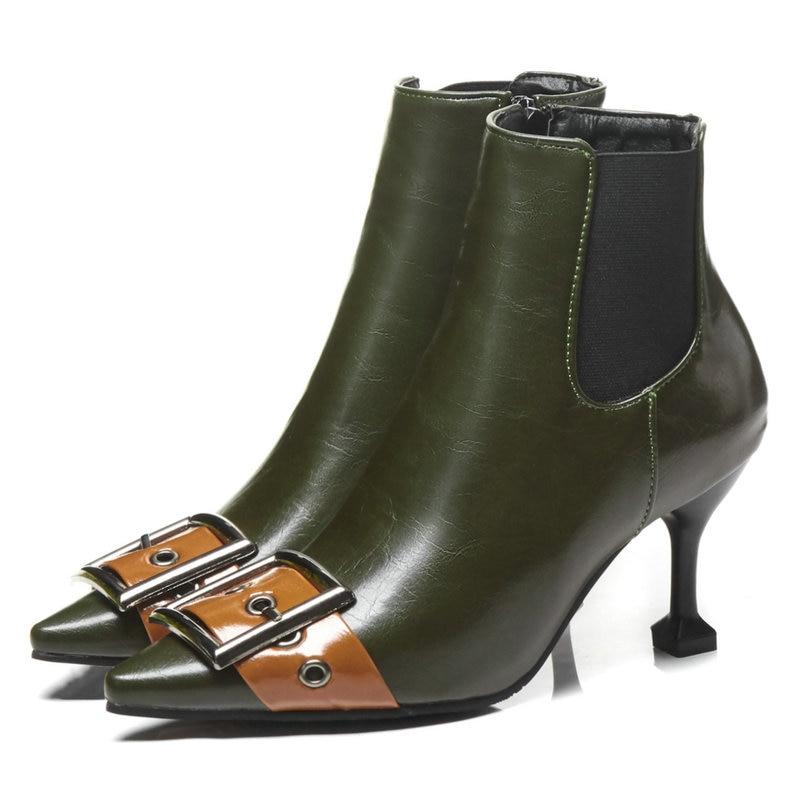 4366db40c9e93c Minces Noir Décoration Zips Chaussures Femelle Boucle 46 vert D'hiver Femme  Bottes Pointu Bottines Femmes ...