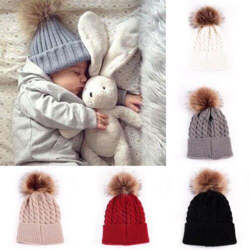US Women Baby Kid Warm Winter Knit Wool Beanie Fur Pom Bobble Hat Crochet Cap