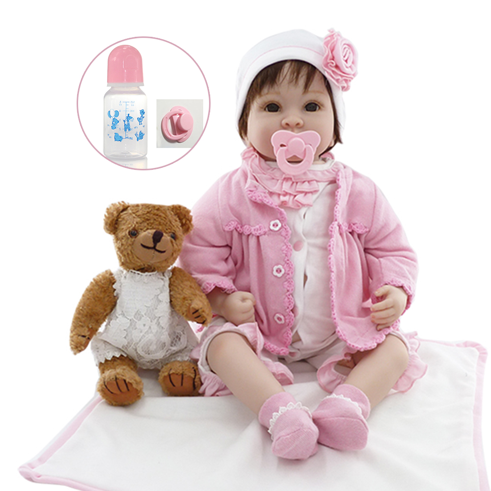 22 Baby Doll With Bear Doll Cotton Body Silicone Vinyl Adorable Lifelike Baby Bonecas Girl Kid Bebe Reborn Dolls COLLECTION22 Baby Doll With Bear Doll Cotton Body Silicone Vinyl Adorable Lifelike Baby Bonecas Girl Kid Bebe Reborn Dolls COLLECTION