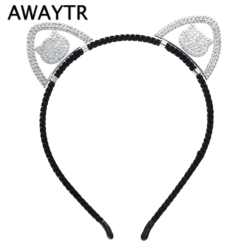 AWAYTR Girls Headband Cat Ears Hairbands Love Butterfly Star Sharp Hair Hoops Kids Hair Accessories Crystal   Headwear   Party Gifts