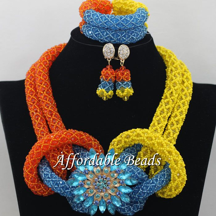 Colorful African Dubai Jewelry Sets Nice Wedding Beads Set Handmade Item Wholesale Free Shipping NCD019 luxury african dubai jewelry sets hot wedding beads set handmade item wholesale free shipping ncd022