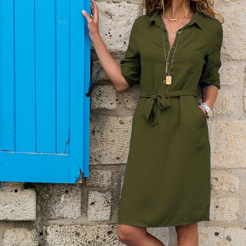 Bigsweety Elegante Do Joelho-Comprimento Vestido Ocasional Das Mulheres Vestidos de Camisa Bolsos Moda Feminino Slim Vestido Com Cinto de Roupas Femininas