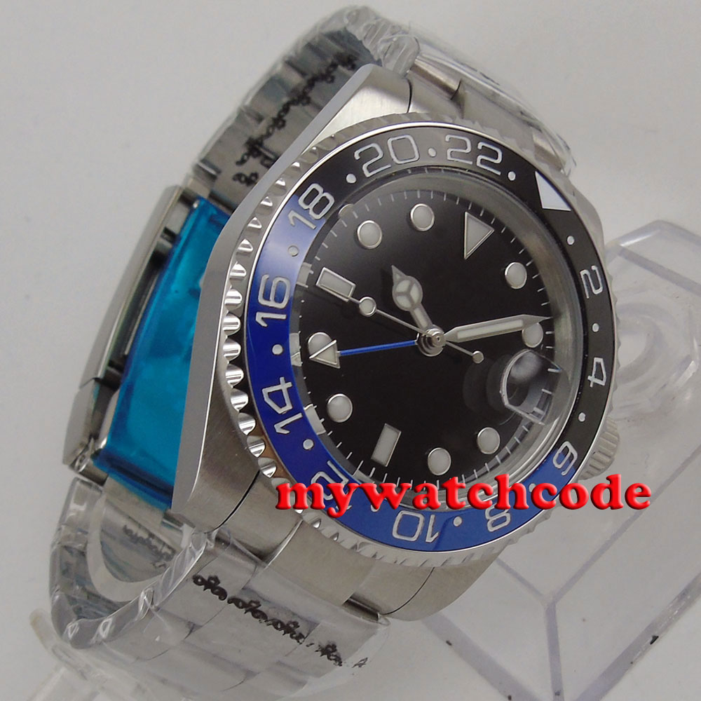 лучшая цена 40mm Bliger black dial ceramic black blue bezel GMT sapphire glass automatic mens watch 176