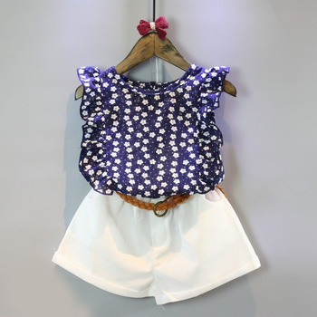 Girls Clothes Sets Summer Style Children Floral Flower Sleeve Vest children Clothing set Shorts Kids Sports Suit With Belt 2pcs conjuntos casuales para niñas