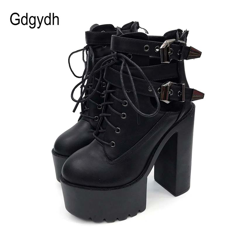 Gdgydh 2019 Spring Fashion Ankle Boots For Women High Heels Casual Lace Up Buckle Round Toe Thick Heels Platform Autumn Boots in Ankle Boots from Shoes