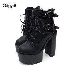 Gdgydh 2019 Spring Fashion Ankle Boots For Women High Heels Casual Lace Up Buckle Round Toe Thick Heels Platform Autumn Boots цены онлайн