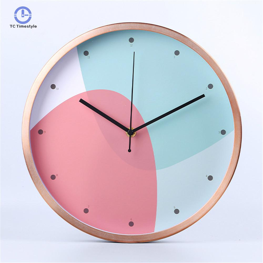 Silently Quartz Needle Wall Clocks For Home Decoration Modern Geometry Wall Clock Colorful Luxury Graceful Round Watches
