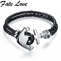 Vintage Genuine Leather Bracelet Men Stainless Steel Double Layer Leather Braid Bracelet Men Anchor Rope Chain
