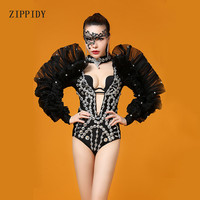 Black Red White Big Shourder Mash Costume Rhinestones Bodysuit Evening Outfit Celebrate Party Leotard Women Stage Dance Wear