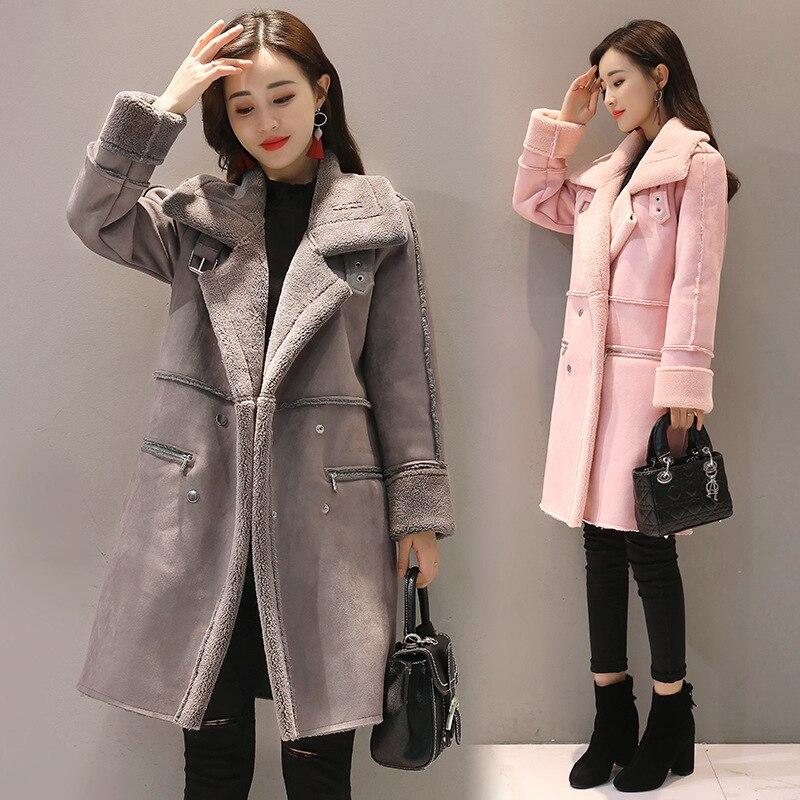 OL Long et épais chaud agneau en peluche manteau manteau femme Laine Manteaux Cachemire zipper Mélanges col v rose 2XL femme manteaux d'hiver 2018
