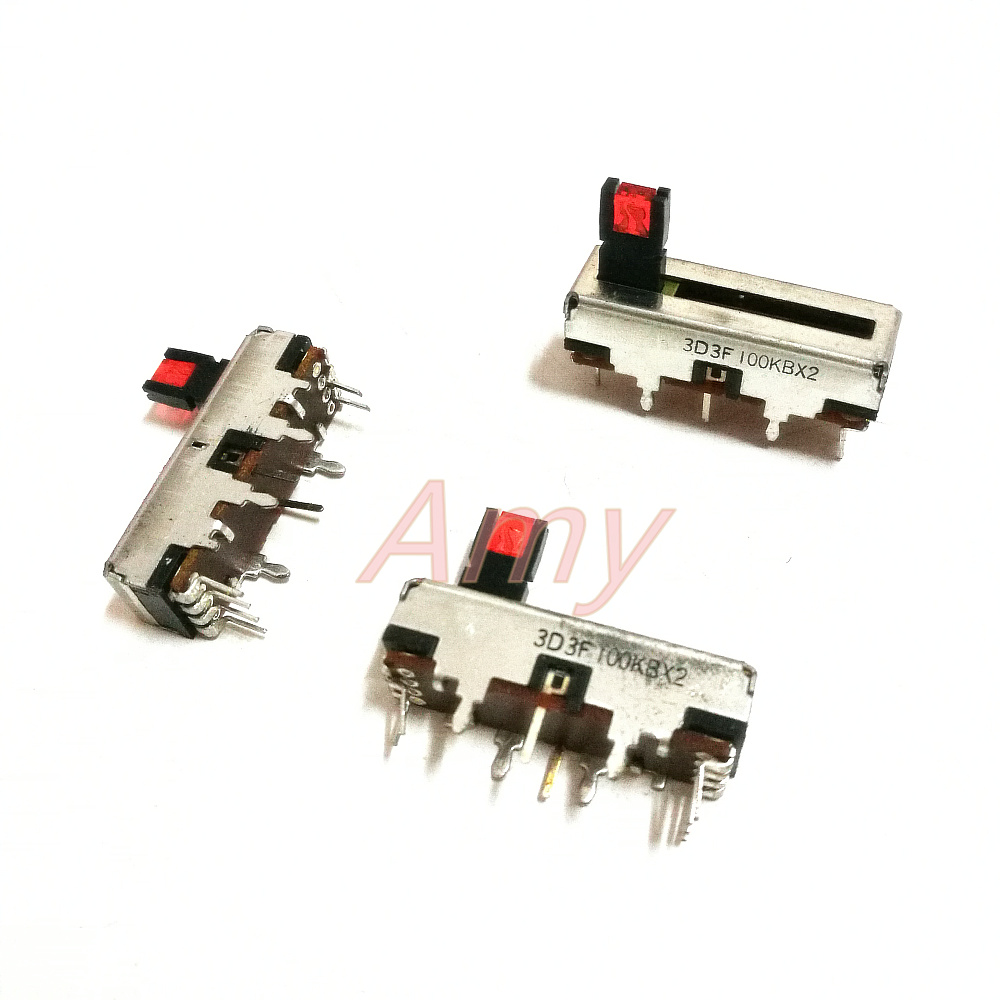 20pcs lot Taiwan 3 cm potentiometer 100KB 2 with light with midpoint 30MM straight sliding potentiometer