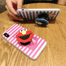 New Cute Cartoon Silicone case for iphone X XR XS XS Max 6 6s 7 8 7plus mobile phone cover with air bag Stand holder