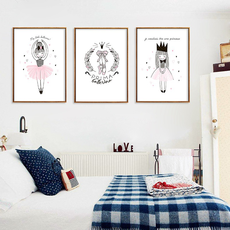 US $3.23 39% OFF|Modern Lovely Decoration Posters Pink Ballet Girl And  Shoes Pretty Princess Art Canvas Painting Wall For Child Bedroom Decor-in  ...