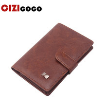 New PU Leather Passport Cover Men Travel Wallet Credit Card Holder Cover Russian Driver License Wallet Document Case(China)