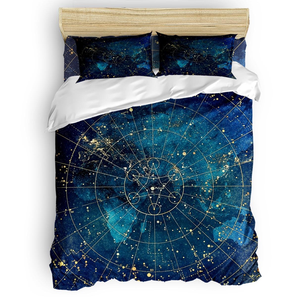 Star Map City Lights Duvet Cover 3D Cotton King Size Queen Size Quilt Cover Set Bedclothes Comforter Single Bedding Sets
