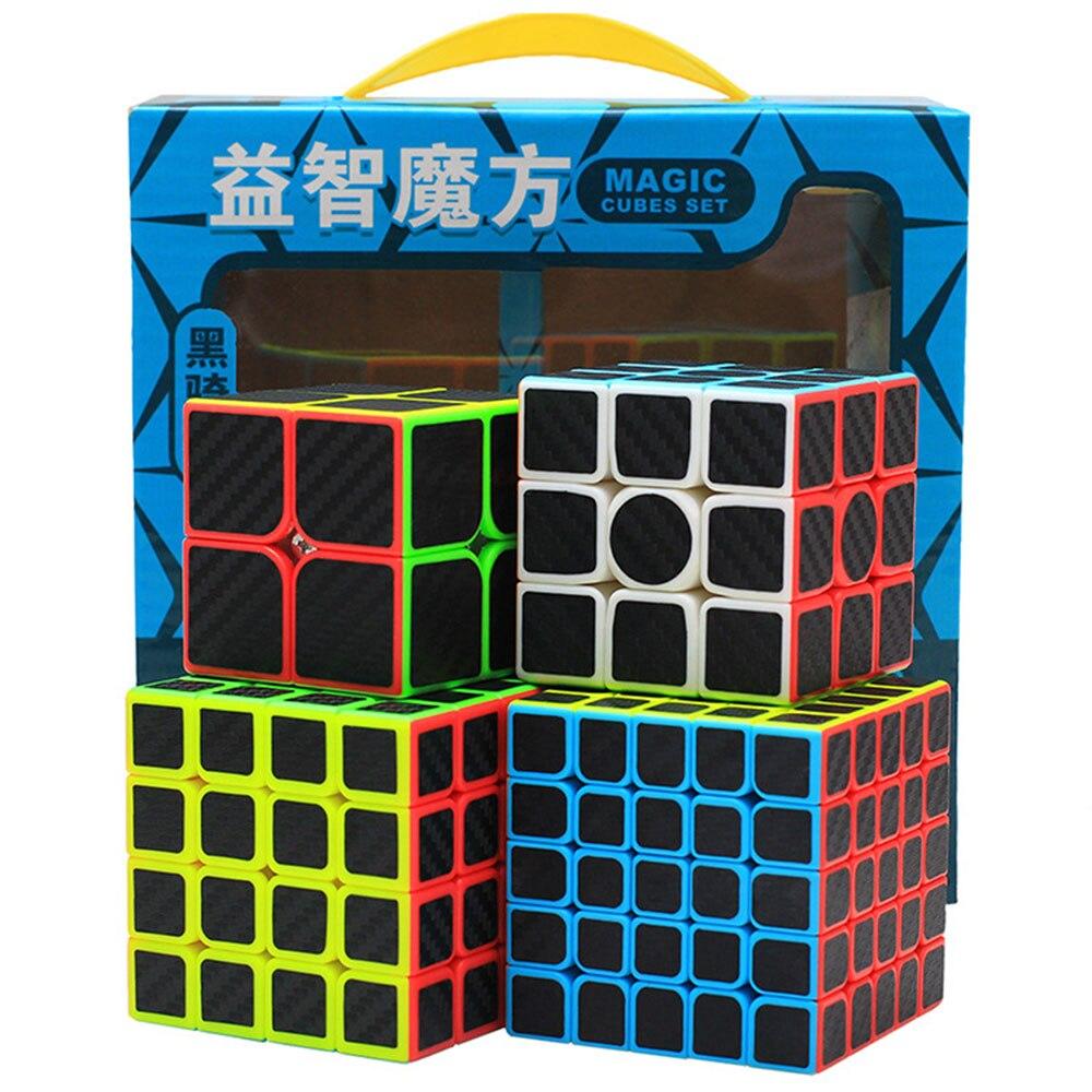 4 pièces Zcube Cube chevalier noir Set 2x2x2 3x3x3 4x4x4 Cubes magiques Puzzle Speed Cube jouets éducatifs cadeau pour enfants enfants - 3