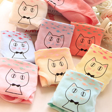New Fashion 6Pcs/Lot Candy Color Girl Panties Cartoon Casual Cotton Underwear Panties Women Butt Lifter Briefs NH0035