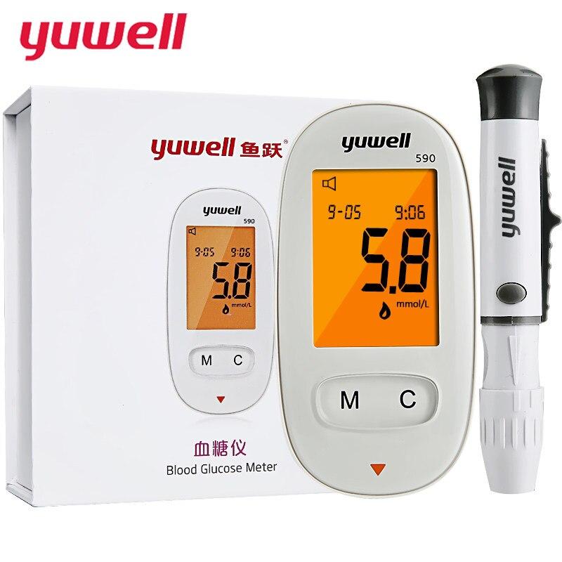 yuwell Glucometer Blood Glucose Meter Medical Diabetic Blood Sugar Monitor Meter Digital Backlit LCD Health Equipment Gift 590
