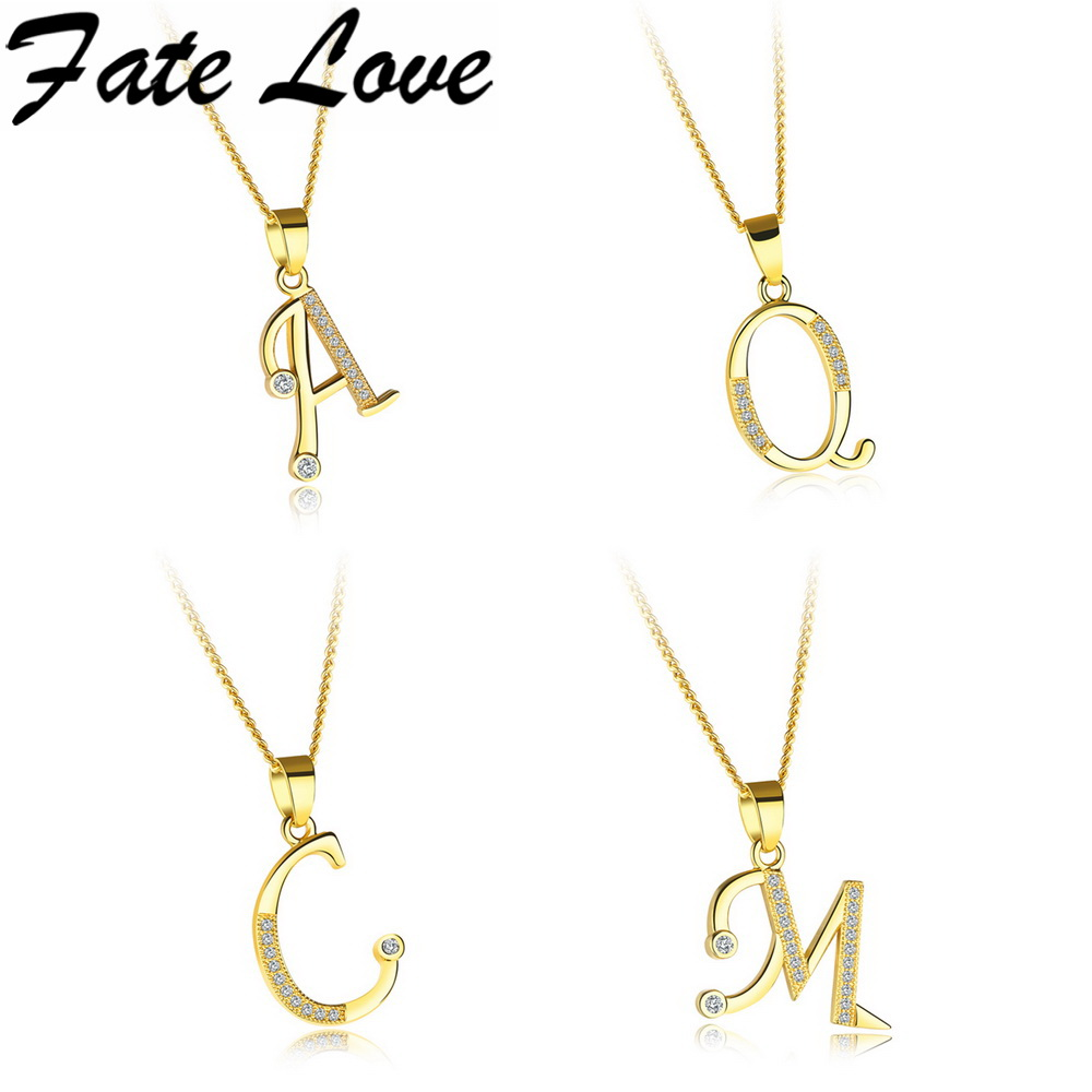 Fate Love Fashion Letter Initial Necklace Pendant Gold Color Copper  Alphabet Tiny Beads Choker Necklace Women