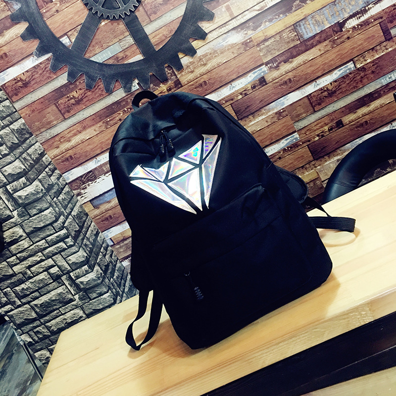Fashion Geometric Laser School Bags For Teenagers Girls Book Bag Canvas Women Backpack Schoolbags For Teen College Black 2019