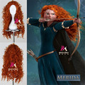 peruca hair queen animated brave movie princess merida wig anime heat resistant big wave long orange cheap wigs curly synthetic