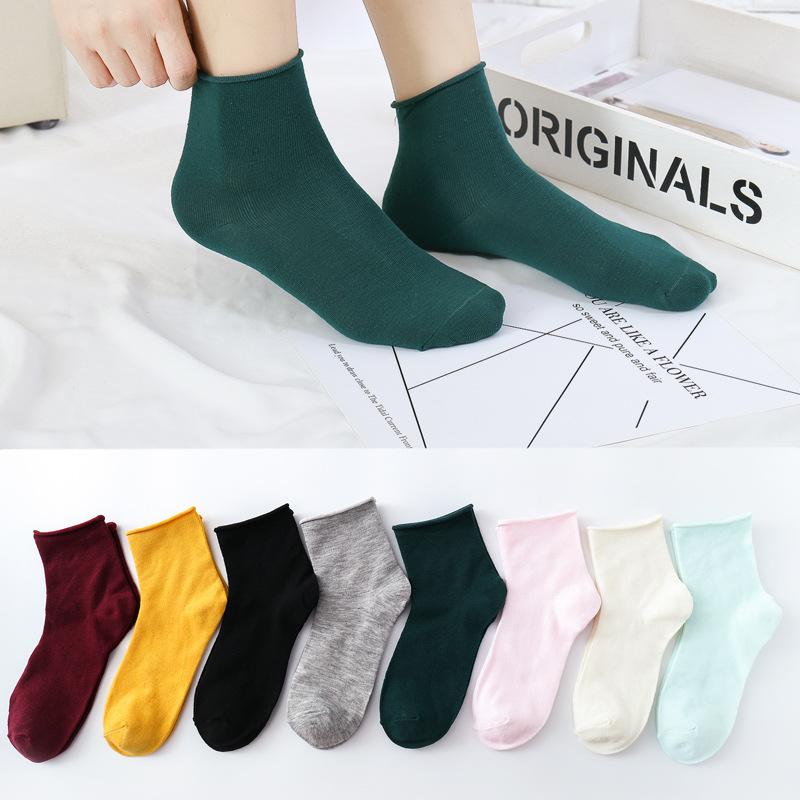 Jeseca New Spring Summer Women Ankle Socks Candy Color Cute School Students Ankle Sox Japanese Kawaii Harajuku Sock Gifts