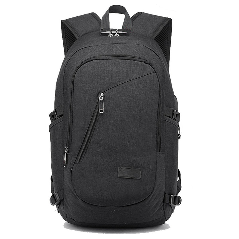 New USB Charging Backpacks With Headphone Jack Business Laptop Men Backpack Travel School College Bag(Black)