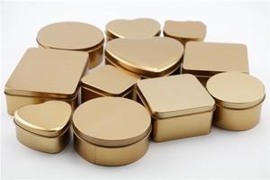 Image 2 - 10 개/몫 장식품, 웨딩 사탕, 잡다한 상품, 귀여운 선물, 철 재료에 대 한 골드 컬러 Tinplate 금속 Stroage 상자