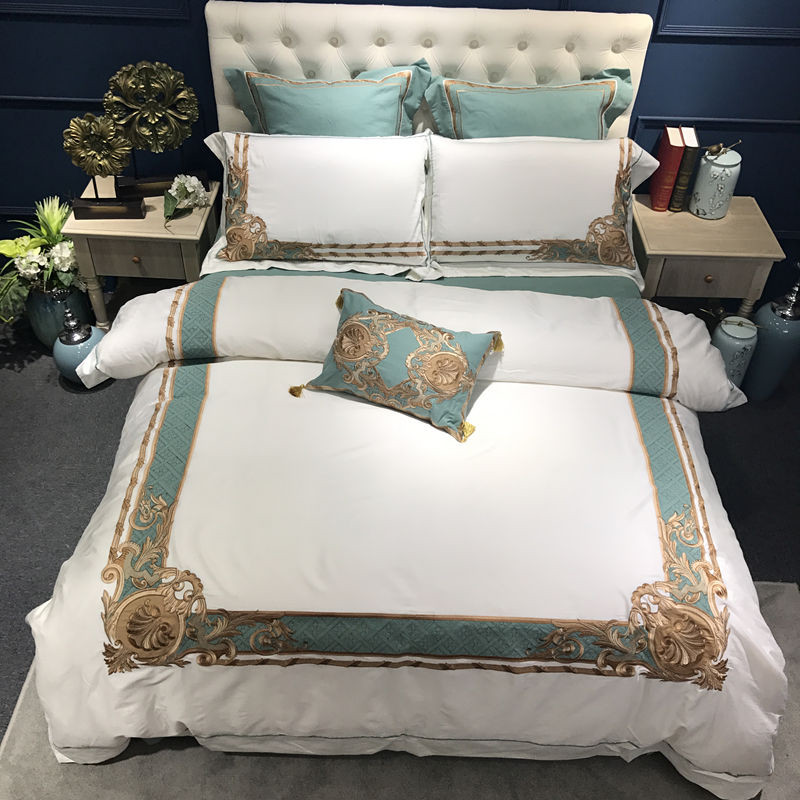Oriental Brodé De Luxe En Coton Égyptien Blanc Royal ensemble de Literie Reine Roi taille Hôtel ensembles de Literie housse de Couette drap de Lit ensemble