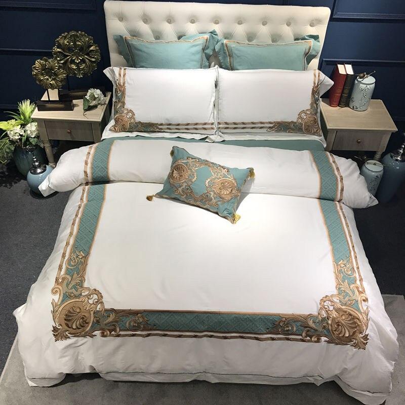 Oriental ปักผ้าฝ้ายอียิปต์สีขาว Royal ชุดเครื่องนอนชุด Queen King ขนาดเครื่องนอนชุดผ้าคลุมเตียงแผ่นชุด-ใน ชุดเครื่องนอน จาก บ้านและสวน บน   1