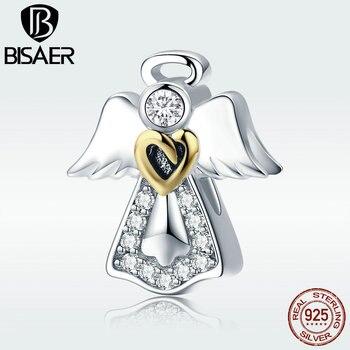 105829b1bff0 Encanto de Plata de Ley 925 de doble Color corazón Ángel guardián perlas  encanto fit Original para las mujeres s925diy 3mm pulsera de encanto GXC747