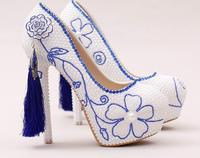 Blue Tassel Chinese Style Blue And White String Bead Women Pumps Crystal Luxury Platform Weeding Party Bule Stone Bridal Shoes