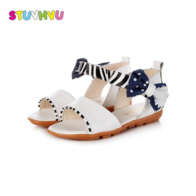 fb375979f6584 2018 Fashion Girls Open Toe Sandals children casual sandals PU leather kids  summer girls princess shoes bowtie shoes flats