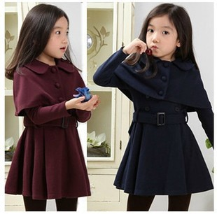 girls clothing sets winter dress+shawl teenage girls fashion clothes kids clothing 2 color size 4 14