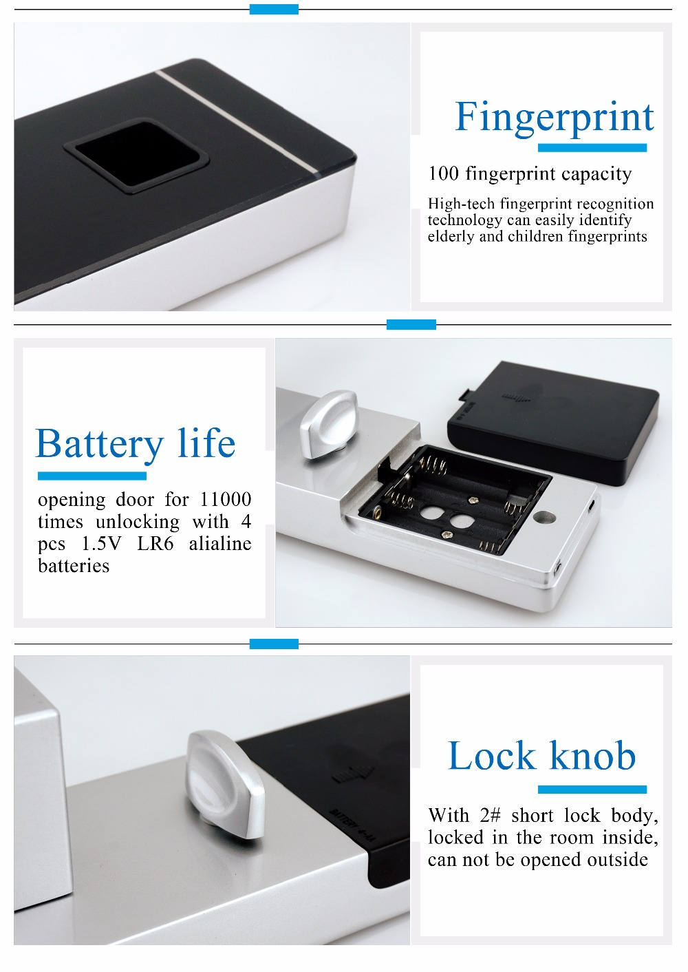 YobangSecurity Smart Entry Door Lock Biometric Fingerprint+4 Cards+2 Mechanical Keys Electronic Intelligent Lock For Office Home - 4