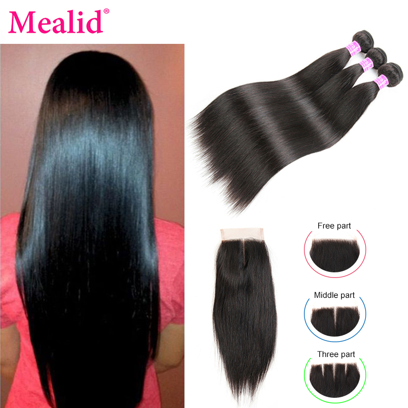 Mealid Straight Hair 3 4 Bundles With Closure Brazilian Hair Weave Bundles With Closure 100% Human Hair Bundles Remy Hair(China)