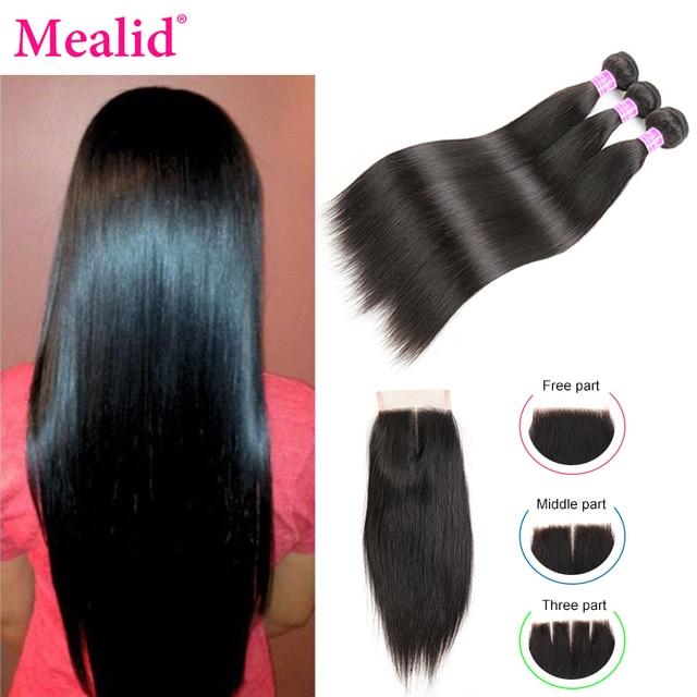 Mechones de pelo liso Mealid 3 4 paquetes con cierre de cabello brasileño con cierre 100% paquetes de cabello humano cabello Remy