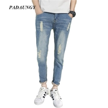 PADAUNGY Hot Mens Jeans Ripped Jeggings Bermuda Masculina Ankle Length Hip Hop Pantalones Vaqueros Hombre Vintage Jean Homme
