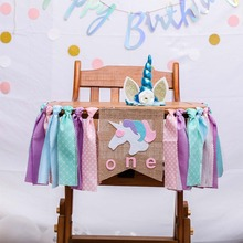 jungle animal theme 1 12 months photo frame banner baby 1st birthday decorations baby boy girl my first one year party supplies Letter One 1ST Birthday Party High Chair Banner Unicorn For Boy Girl Photo Props Baby Shower Decorations Burlap Highchair Banner